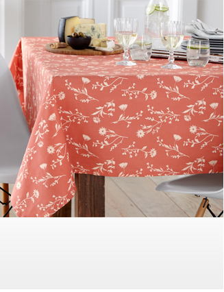 Table Cloth, Printed, Double, Terracotta